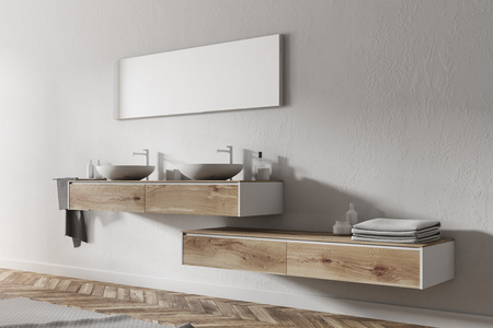 Double sink standing on a wooden shelf in a white wall bathroom with a wooden floor. A side view. 3d rendering mock up