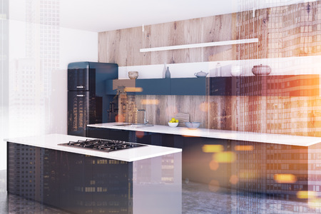 Luxury kitchen corner with wooden walls, a concrete floor, a fridge and black countertops. A bar. 3d rendering mock up toned image double exposure