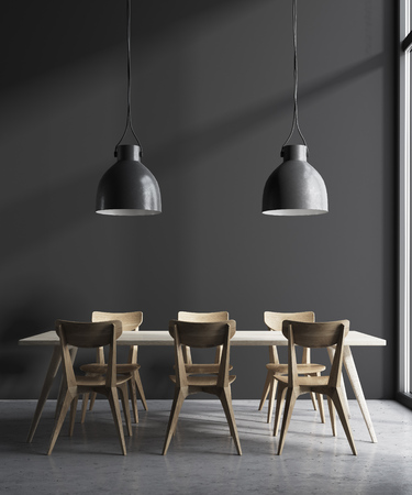 Modern minimalistic dining room interior with gray walls, a wooden floor and a long table with chairs near it. 3d rendering mock up Stock Photo