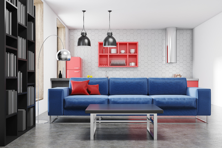 Red fridge kitchen interior with a bar, red shelves, stools and a large window. A blue sofa living room in the foreground. 3d rendering mock up 版權商用圖片
