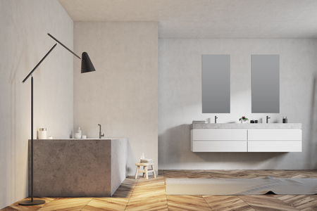 Luxury bathroom interior with an angular tub, a double sink with two narrow vertical mirrors and a wooden floor with a carpet on it. A close up. 3d rendering mock up