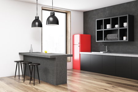 Red fridge kitchen corner with a bar, black shelves, stools and a large window. 3d rendering, mock up.