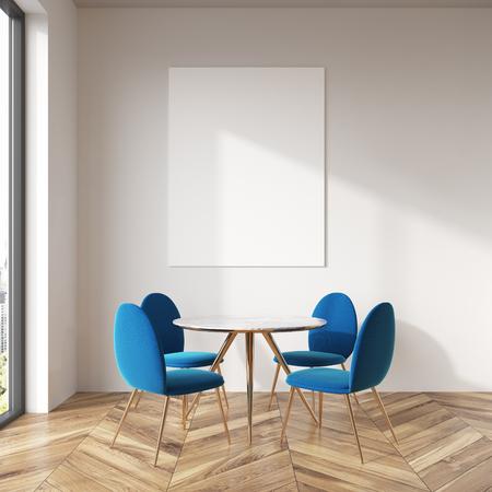 Interno della sala da pranzo con pareti bianche con pavimento in legno, tavola rotonda e sedie blu. Un poster. Rendering 3D mock up