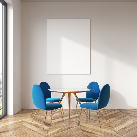 White wall dining room interior with a wooden floor, a round table and blue chairs. A poster. 3d rendering mock up