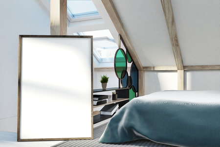 Attic bedroom interior with white walls, windows in the roof, a double bed and a bookshelf. A poster in the foreground. 3d rendering mock up
