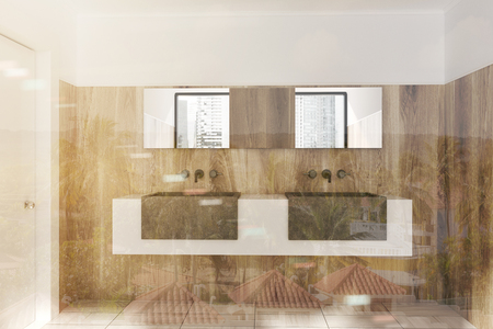Double sink standing on a white and gray shelf in a wooden wall bathroom with a wooden floor. 3d rendering mock up toned image double exposure
