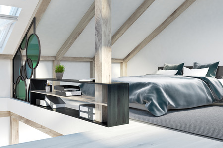 Attic bedroom corner with white walls, windows in the roof, a double bed and a bookshelf. 3d rendering mock up