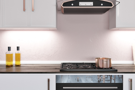 Kitchen counter made of dark wood with a built in cooker. White cupboards hanging above it. 3d rendering.