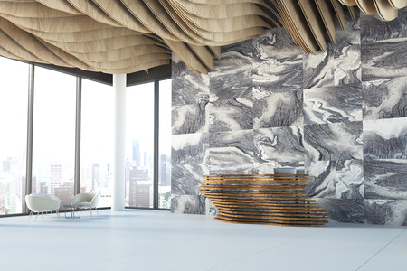 Lobby of a modern company with gray marble walls, a wave like ceiling and an original reception counter near a panoramic window. 3d rendering mock up Stock Photo