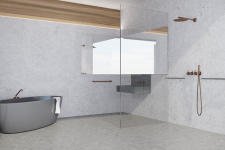 White panoramic bathroom interior idea. White walls and a tiled floor, a gray bathtub and a sink. A side view. 3d rendering mock up Stock Photo