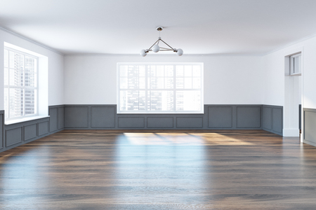 Empty room with white and gray walls, large windows and a dark wooden floor. Concept of a new house purchase 3d rendering mock up