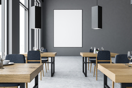 Gray modern bar interior with a concrete floor, large windows, square wooden tables and a bar with stools. A poster. 3d rendering mock up Reklamní fotografie