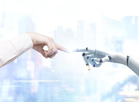 Ręce człowieka i robota sięgające i dotykające palcami wskazującymi. Niewyraźne tło miasta. Stonowany obraz podwójna ekspozycja.