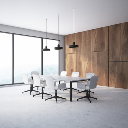 Wooden wall conference room corner with a concrete floor, a long white table with white chairs standing around it and large windows. 3d rendering mock up Фото со стока