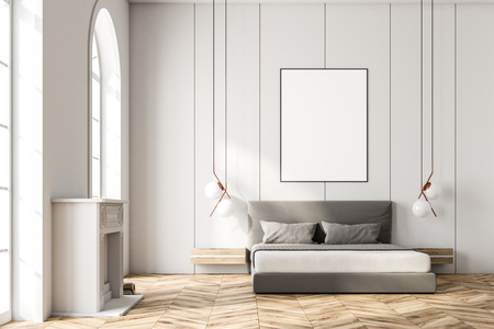 White arched window bedroom interior with a king size bed, a fireplace and a framed vertical poster hanging above it. 3d rendering mock up Banque d'images - 100437318
