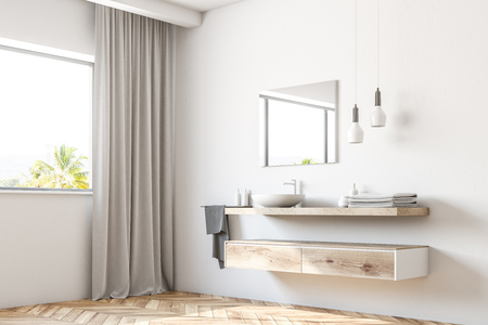 White bathroom sink standing on a wooden shelf. A square mirror hanging on a white wall. A side view. 3d rendering