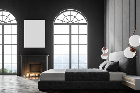 Gray arched window bedroom interior with a king size bed, a fireplace and a framed vertical poster hanging above it. 3d rendering mock up Banque d'images - 100557057