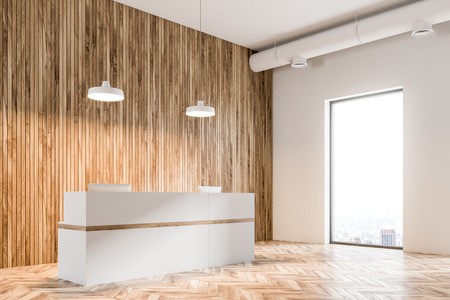 Eco style office interior with white and wooden walls, a white reception and a loft windown with a modern cityscape. 3d rendering mockup Stockfoto
