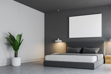 Corner of a gray bedroom interior with a concrete floor, a master bed and a horizontal poster hanging above it. 3d rendering mock up