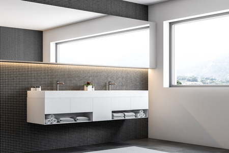 Dark mosaic wall bathroom corner with a rug on the floor, a large window, a white double sink and a long narrow mirror. 3d rendering mock up Фото со стока