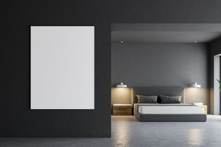 Gray bedroom interior with a concrete floor, a master bed and a horizontal poster hanging on the wall. 3d rendering mock up