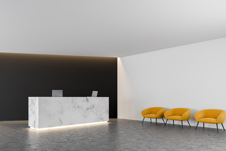 White marble office reception table with two computers standing in a modern company lounge with a black wall and a row of yellow chairs near the wall. 3d rendering mock up