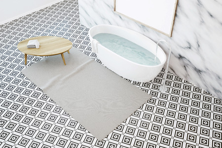 Marlbe bathroom corner with a geometric pattern tiled floor, a large window, a white bathtub, a small table and a framed vertical poster on the wall. Top view. 3d rendering mock up
