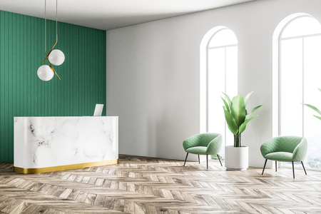 Marble reception with a computer on it standing in a modern company office with green walls, a plant and a round ceiling lamp. A side view. 3d rendering mock up