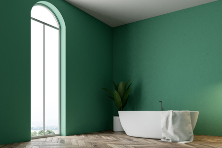 Minimalistic green bathroom interior with a white bathtub, a towel hanging on it, and a potted tree. A window 3d rendering mock up