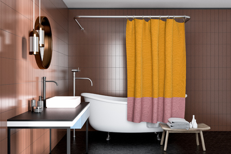 Beige bathroom corner with a white bathtub, a sink with a round mirror and a yellow curtain. 3d rendering