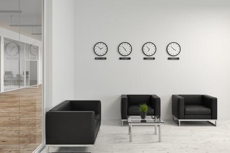 Nowoczesna poczekalnia biurowa z miękkimi czarnymi fotelami i przeszklonymi i białymi ścianami. Zegary z godzinami miast świata. Pojęcie biznesu i współpracy. Renderowanie 3d