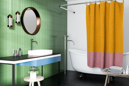 Green bathroom interior with a white bathtub, a sink with a round mirror and a small chair. A side view. 3d rendering Banco de Imagens