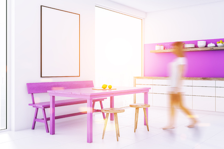 Woman walking in a white dining room and kitchen with loft windows, a purple table, chairs and a bench. White countertops and a frame poster. 3d rendering mock up toned image blurred
