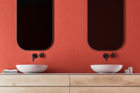 Double sink on a wooden shelf with two vertical mirrors. A red luxury bathroom interior. 3d rendering Stock Photo