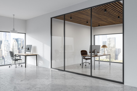 Stylish minimalistic white wall office interior with loft windows. Rows of computer tables and manager s office. Angle view. 3d rendering mock up Stock fotó
