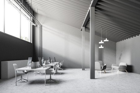 Gray wall industrial style office interior with a concrete floor, a long narrow window and a pitched roof. Columns. 3d rendering mock up