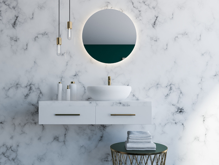 Elegant white sink standing on a white shelf. A round mirror is hanging above it. White marble bathroom interior. 3d rendering mock up