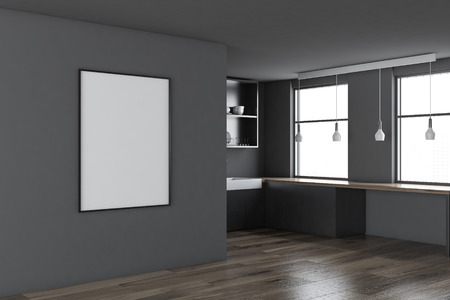 Scandinavian style kitchen corner with gray walls, a wooden floor, and a frame vertical poster. 3d rendering mock up
