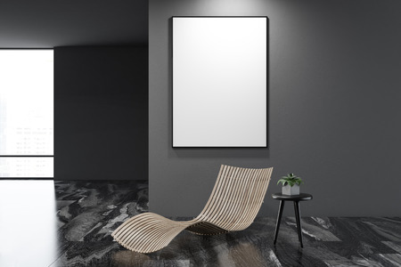 Empty gray wall marble floor living room interior with a bench, loft window and a mock up poster frame on the wall. 3d rendering