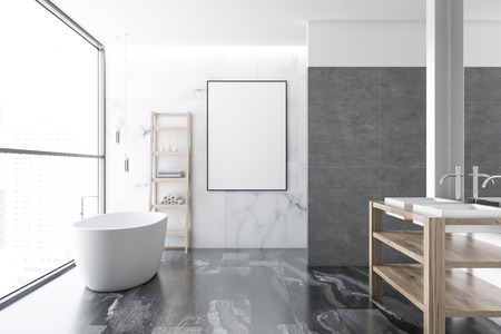 Loft white marble luxury bathroom interior with a black marble floor, a white bathtub, a double vessel sink and a vertical frame mock up poster. 3d rendering