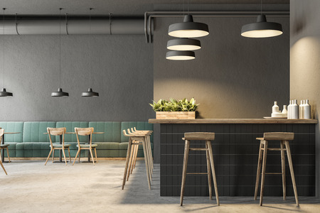 Industrial style bar interior with dark gray walls, a concrete floor, arched windows and wooden tables with chairs. Green sofas. 3d rendering mock up