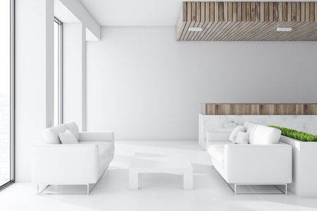 White and wooden wall office waiting room interior with white sofas and a coffee table. 3d rendering mock up