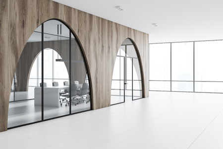 Modern Office Lobby With A White Floor, Arched Light Wooden Walls And  Panoramic Windows.
