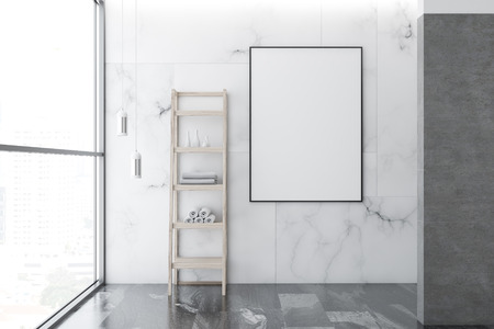 Empty bathroom interior with white marble walls, loft windows, a gray marble floor, shelves with towels and a vertical poster frame on the wall. 3d rendering mock up