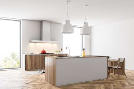 Loft kitchen corner with white walls, a wooden floor, a white bar and countertops with built in appliances. 3d rendering mock up Stock Photo