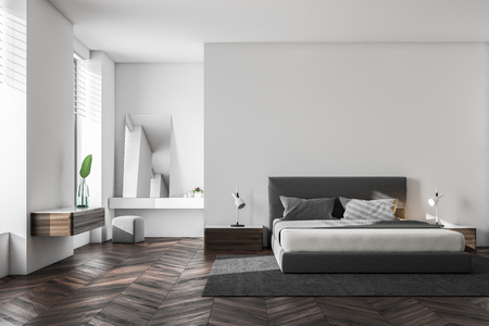 Luxury bedroom interior with white walls, a wooden floor and a king size bed. Scandinavian style. 3d rendering mock up