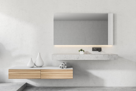 Modern bathroom interior with white walls, a massive and elegant sink, a wooden shelf with vases and a long horizontal mirror. 3d rendering mock up Фото со стока