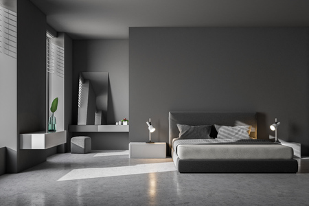 Luxury bedroom interior with gray walls, a concrete floor and a king size bed. Scandinavian style. 3d rendering mock up Standard-Bild
