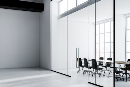 Conference room in an office with gray walls, a long wooden table and black chairs. Square whitetboard. Concept of communication and teamwork. 3d rendering mock up