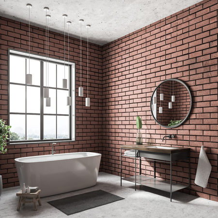 Modern bathroom corner with brick walls, a white floor, a bathtub standing under the window, a sink and a round mirror. 3d rendering mock up